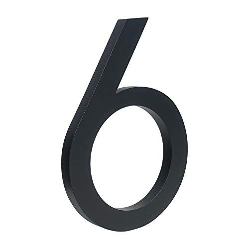 HASWARE Número de casa flotante de 6 pulgadas (15 cm) Números de puerta con estilo Placa del alfabeto Números de dirección de casa de la calle (6, Negro)