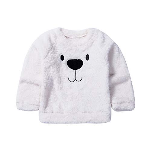 Carolilly Suéter de terciopelo para niño recién nacido, top cálido de invierno adorable, con estampado de oso, bonito vestido para niño, jersey deportivo Bianco 80 cm