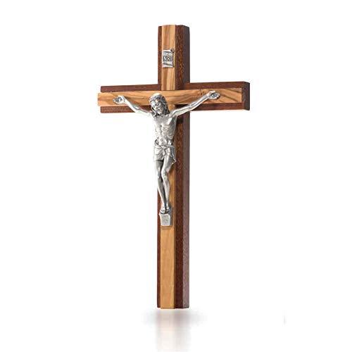 Wandkreuz Kruzifix modern Mahahoni Kreuzauflage Olivenholz Metallkorpus silberfarben 20 cm Holzkreuz Schmuckkreuz