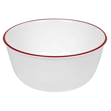 Corelle Livingware 28-Ounce Super Soup/Cereal Bowl, Red Band (3 Bowls)