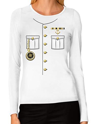 Schiffskapitän Halloween Kostüm Outfit Anzug Frauen Langarm T-Shirt