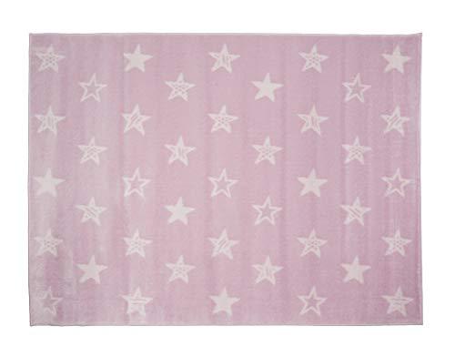Aratextil Estrellas Alfombra Infantil, Acrílico, Rosa, 140x200 cm