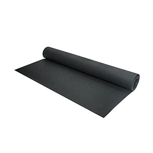 Vivol Esterilla protectora para el suelo (125 cm de ancho, 10 mm de grosor, 2 grosores diferentes), color negro