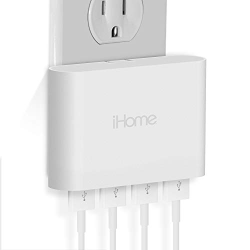 iHome AC Pro 5.4 Amp 4-Port USB Wall or Travel Charger, Flat Foldable Plug for iPhone 11, 11 Pro, 11 Pro Max, Xs, Xs Max, XR, X, 8, Airpods, iPad, Samsung Galaxy Android & More – White