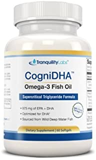 High DHA Omega 3 Fish Oil - CogniDHA - Pharmaceutical Grade - 1,250 mg Omega-3s - Supercritical CO2 Triglyceride Formula - 775/200 DHA/EPA - Excellent for Prenatal