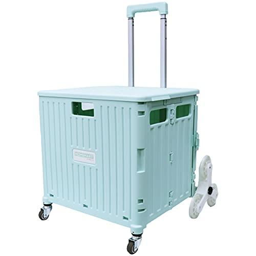 [スーツケースカンパニー]GPT 折りたたみ キャリーカート 大容量 65L 階段 段差 お買い物 キャリー コンテナ フタ付き アウトドア キャンプ コンパクト 台車 グリーン