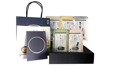 【茅乃舎だし】贈答箱入り・手提げ紙袋付き  ギフト 5種類セット(8g×5袋) 茅乃舎だし・椎茸だし・煮干しだし・野菜だし・昆布だし