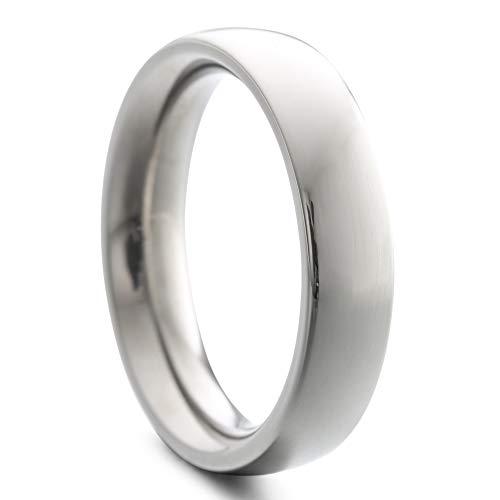 Heideman Ring Damen und Herren Paari aus Edelstahl silber farben poliert oder matt Damenring für Frauen und Männer Partnerringe 5mm breit schmaler gewölbter Ring silberfarben poliert Gr.65 hr7025-3-65