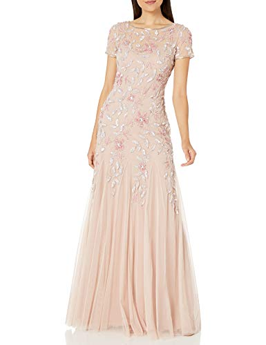 Adrianna Papell Women's Floral Beaded Godet Gown Dress, Blush, 8