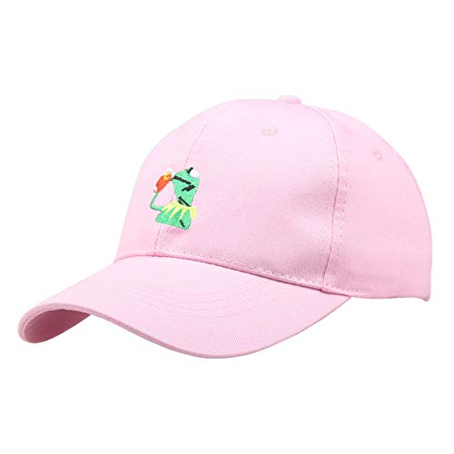 Kermit Cap Baseball Cap Dad The Frog Sipping Sips Drinking Tea Embroidered Cotton Snapback Adjustable Unisex Pink