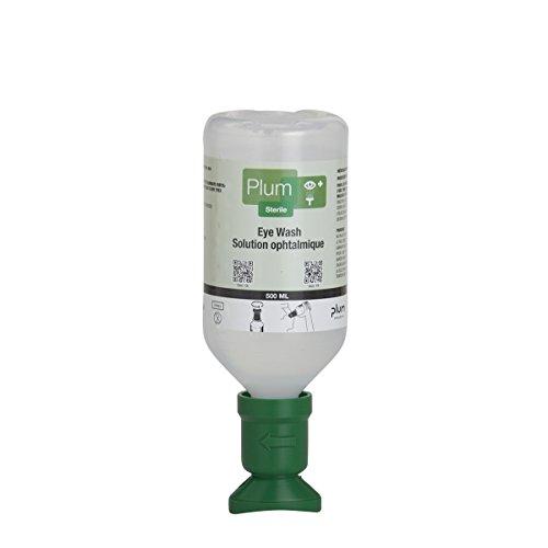 Plum 45981-2 Sterile Saline Eyewash Solution Bottle 500 mL, 8.5' Height, 3' Wide, 3' Length, 16.9 fl. oz, Plastic (Pack of 2)