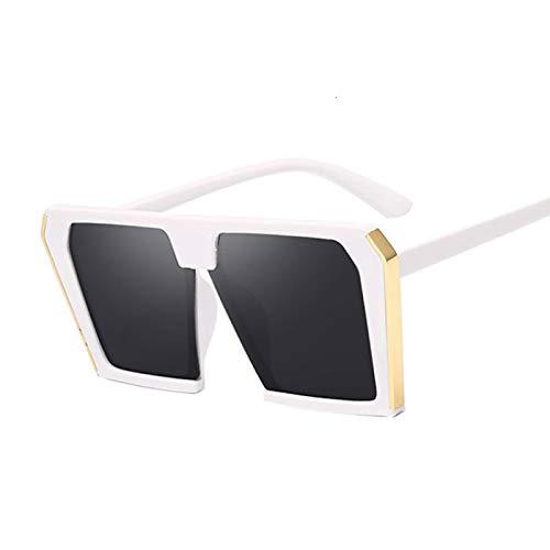 Astemdhj Gafas de Sol Sunglasses Nuevas Gafas De Sol Cuadradas para Hombre Y Mujer, Gafas Retro Vintage, Gafas De Sol para Hombre Y Mujer, Gafas De Conducción Uv400, Blanco, GrisAnti-UV