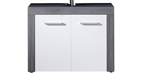 trendteam smart living Badezimmer Waschbecken Unterschrank Schrank Waschbeckenunterschrank Miami, 72 x 56 x 34 cm in Korpus Rauchsilber Dekor, Front Weiß mit viel Stauraum