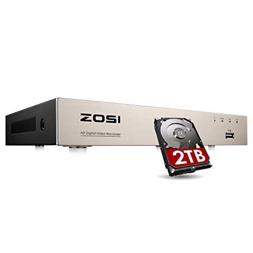 ZOSI H.265+ 8CH 5MP Lite 4-in-1 Surveillance DVR Recorders with Hard Drive 2TB for HD-TVI, CVI, CVBS, AHD 960H/720P/1080P/5MP CCTV Security Cameras System, Motion Detection, Remote Viewing,Alert Push