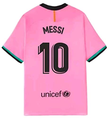 2020-2021 Season Kids/Youths Third Soccer Jersey/Short/Socks Colour Pink (Barcelona Messi #10(7-8years/size22))