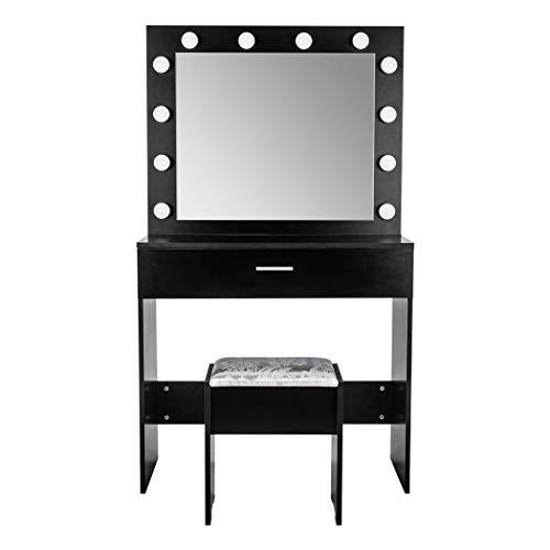 Juego de tocador con espejo de luces LED Hollywood, mesa de maquillaje con 1 cajón grande y taburete, tocador moderno de maquillaje, 80 x 40 x 140 cm (negro)