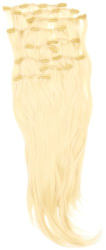Love Hair Extensions - LHE/K1/QFC/120G/10PCS/18/613 - Thermofibre™ Lisses et Soyeux - 10 Pièces Clippants en Extensions - Couleur 613 - Blond Crème - 46 cm
