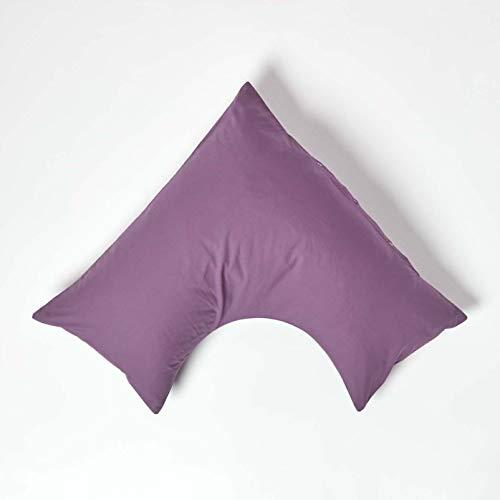 HOMESCAPES Funda de Almohada Forma V 100% algodón Egipcio 200 Hilos 110 x 80 x 80 cm Color Morado