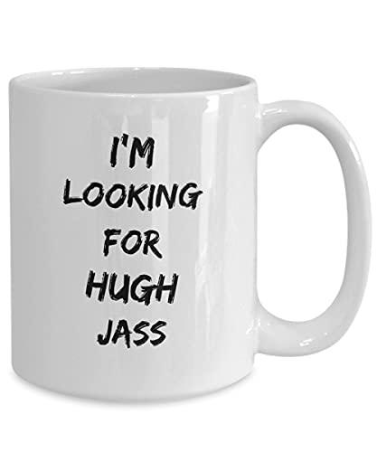 Taza divertida de Simpsons, con texto en inglés 'I'm Looking for Hugh Jass', taberna, día de San Valentín