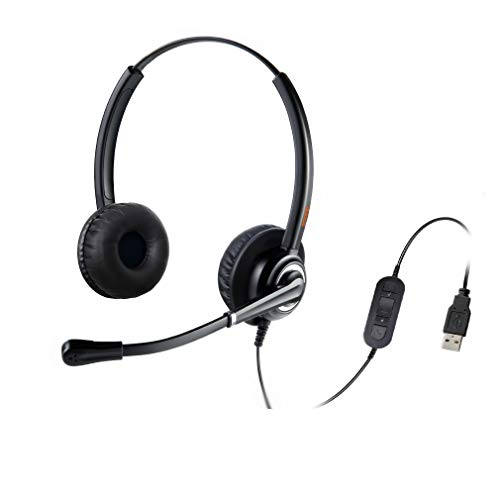 emaiker Wired USB Headset with Noise Cancelling Microphone Computer Teleconference Call Headphone for Laptop Zoom Dragon Voice Recognition Speech Dictation Softphone Headphone for Telework Skype Chat