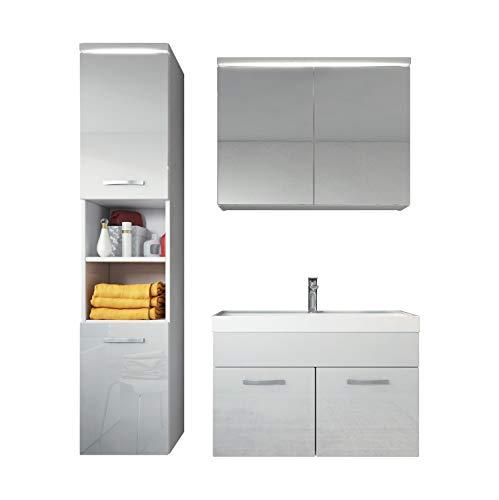 Badezimmer Badmöbel Set Paso 80 cm Waschbecken weiß hochglanz Fronten - Storage Unterschrank Spüle Möbel