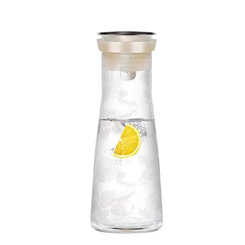 Umi.by Amazon Krüge Dekantierer Karaffen Wasserkaraffe Saftkrug Mit Silikon Deckel 1.2L,Eistee Glaskaraffe Saft Getränke Milch,hausgemachte Aufgüsse Saft Limonade sprudelnde Getränke