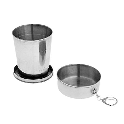 perfk Vaso Plegable Taza Retráctil de Acero Inoxidable Tazas Portátiles para Acampar Senderismo Viajes Pesca - 140 ml