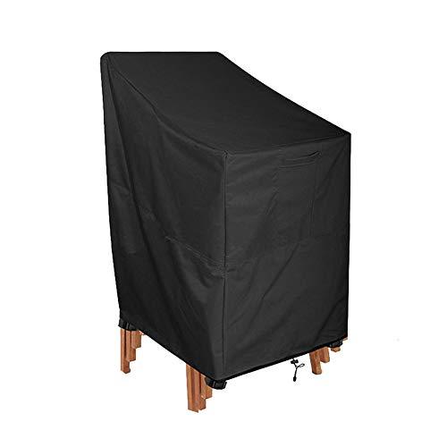 Yangxue Fundas para sillas de patio, apilables al aire libre, cubierta para muebles de patio, impermeable, funda para silla de salón, color negro