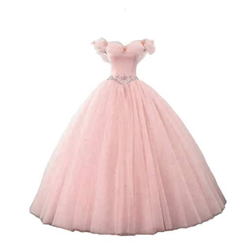 LEJY Women's Ball Gown Cinderella Off Shoulder Quinceanera Prom Gown Wedding Dress Blush 18