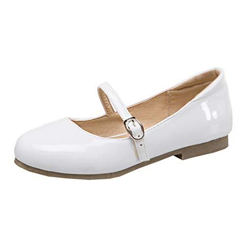 MISSUIT Damen Mary Jane Flach Lack Riemchen Pumps Flacher Absatz Geschlossen Schuhe(Weiß,36)
