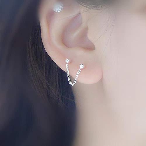 MUATE Zwei ohrloch verbindung Sterling Silber Ohrringe 925 Silber doppelohr Loch perlenkette stück Ohrstecker 1 stück Kurze Kette