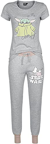 Star Wars The Mandalorian - Comfy - Grogu Mujer Pijama Gris/Rosa XL, 60% algodón, 40% poliéster,