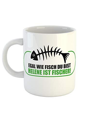 clothinx Kaffeetasse mit Aufdruck Egal Wie Fisch Du Bist Helene Ist Fischer