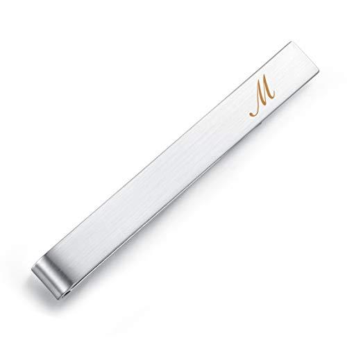 HONEY BEAR 5.4cm Herren Briefe Initialen Krawattennadel Krawattenklammer für Normale Krawatte Edelstahl Tie Clip,Gebürstetes Silber (M)