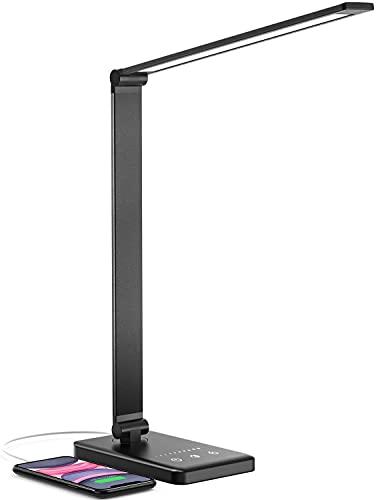 Lámpara Escritorio LED, Jirvyuk Lámparas de Mesa USB Recargable con 5 Modos,10 Niveles de Brillo,Temporizador de 30/60min, Para Leer,Estudiar, Cuidado de ojos (Negro)
