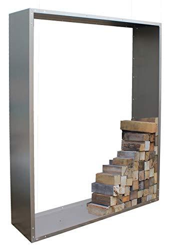 Palatino Exclusive Line Woodpecker Étagère à bois de cheminée en acier galvanisé 100 x 180 cm Profondeur 40 cm