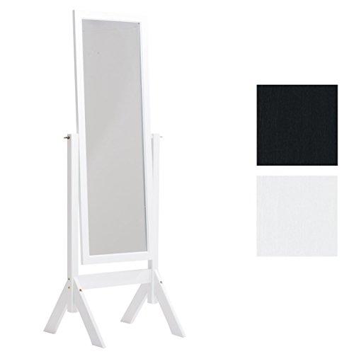 CLP Standspiegel Elvis aus Holz I Freistehender Spiegel im Landhausstil I Neigbarer Ganzkörper-Spiegel I erhältlich, Farbe:weiß