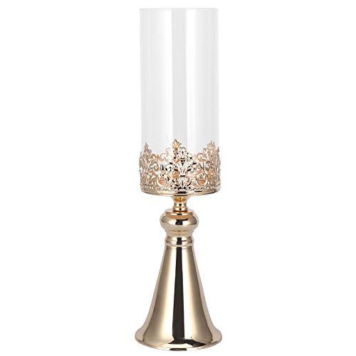 Glazen kandelaar, gouden smeedijzeren Europese stijl, gemakkelijk schoon te maken klassieke kandelaar, voor huwelijksverjaardag voor eettafel(small)