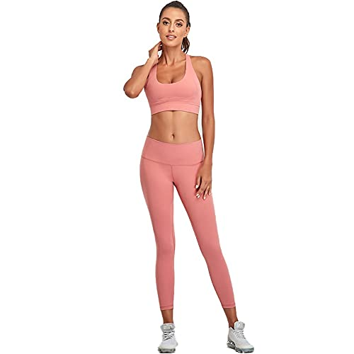 qddan Equipo de Entrenamiento Sexy para Mujer Juego de 2 Piezas con Gimnasio atlético inconsútil Gimnasio de Cintura Altas Leggings de Yoga sin Mangas Sujetador Deportivo y Stands Set