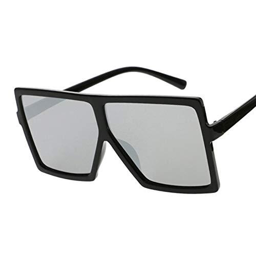 YOULIER Gafas de sol cuadradas mujeres gafas de sol mujer gafas gafas de plástico marco transparente lente Uv400 sombra moda conducción nueva BlackSilver