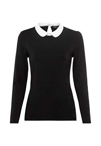HALLHUBER Basic-Langarmshirt mit Bubikragen aus Lenzing™-EcoVero™ leicht tailliert schwarz, XL