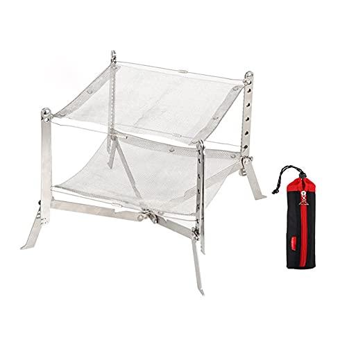 SANGSHI Parrilla giratoria, hoguera, soporte para estufa de leña para camping, de acero inoxidable, plegable, marco de malla, picnic, barbacoa, leña, rack