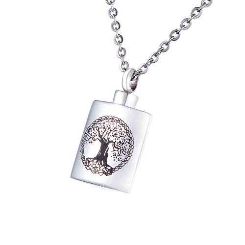HooAMI[ホーアムアイ] 刻印 メモリアルペンダント 四角形 生命の樹 ネックレス ステンレス 遺骨ペンダント 防水仕様 16.6mmx28mm
