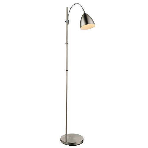 Steh Bogen Leuchte Wohnraum Lese Stand Lampe Strahler beweglich höhe verstellbar Globo 24857S, silber
