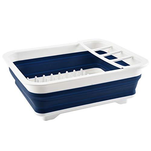 SLL- Estante de drenaje plegable, escurridor de platos de cocina, escurridor de vajilla retráctil simple (color: B)