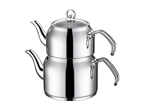 Tac Grosso | Teekocher | Wasserkocher | Teekanne | Teekessel | Teebereiter | Tee-Set | Megagroß | Aus Edelstahl | Türkischer Tee | Schwarztee | TAC-1565