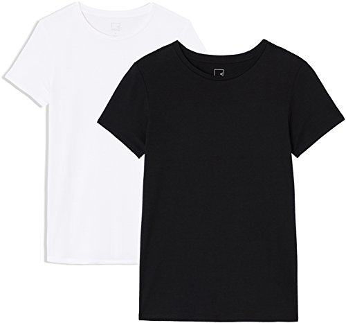 Amazon-Marke: MERAKI AP003 Damen T-shirt, 2er Pack, Mehrfarbig (Black Beauty/White), 34, Label: XS