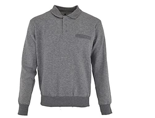 Men's Sweatshirt Plain Fleece Sweatshirt Top Pullover 3 buttons (Light...