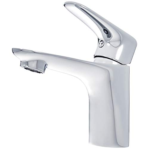 Amazon Basics - Standard-Wasserhahn Mischbatterie für das Waschbecken - poliertes Chrom