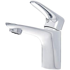 AmazonBasics – Mezclador de grifo de lavabo estándar, corto, cromo pulido
